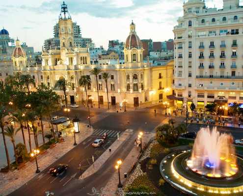 City Hall Square at Hotel Sorolla Centro in Valencia, Spain